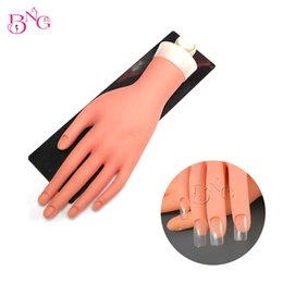 Wholesale Nail Art Training Practice Hand - Bng 1set Movable Practice Hand With Stand Flexible Fingers Soft Fake Hand Draw Decorate Nail Art Training Mannequin Hand