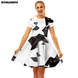 red combination dresses Coupons - TINGHON Black White Triangle Combination 3D Printed Sexy Dresses Vestidos Verano 2018 Women Dress Befree Short Sleeve Dresses