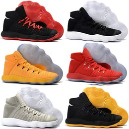 Wholesale Fabrics China - Cheap Hyperdunk Basketball Shoes Boost High Men BHM Red 2017 Man Air Zoom Hyperdunks Reteo Shoe China Brand Authentic Sport Sneakers