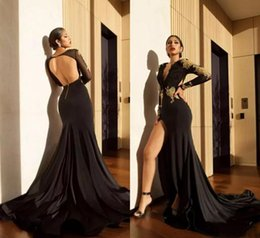 pink semi formal dresses NZ - Sexy Black Mermaid Prom Dresses Long Sleeves Evening Gowns 2018 Backless Applique Lace Split Long Party Dresses Semi Formal Gowns