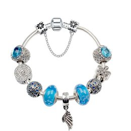 6d4d3fe63 925 Murano Blue Glass Charm beads bracelet For Women child Original DIY  Jewelry Style Fit Pandora with Crown