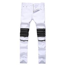 Wholesale Hip Hop Bottoms - Men Jeans Zipper Design On Knee Slimling Pants Hip Hop High Street Wear Homme Bottom Clothing
