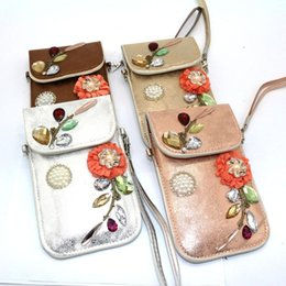 Wholesale Flora Bags - 2017 Hot Sale Fashion Women Day Clutches Coffee Silver Rose Polyester Appliques Flora Hasp Cell Phone Bag High Quality Bolsa