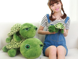 Wholesale Baby Tortoise - Plush turtle pillow Wholesale New 35cm Super Green Big Eyes Stuffed Tortoise Turtle Animal Plush Baby Toy Gift