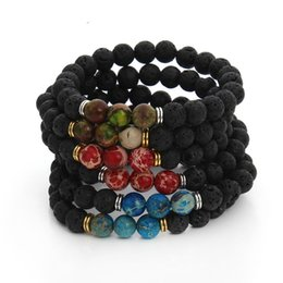 Wholesale Mens Stretch Bracelets - New Design High Quality Black Lava Stone Jewelry Imperial Beads Stretch women & Mens Energy Yoga Gift Bracelets