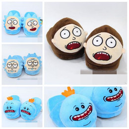 Wholesale Winter Plush Slippers - 5 Styles 28cm Rick and Morty Mr. Meeseeks Morty Smith Rick Sanchez Plush Slippers Winter Indoor Shoes Soft Stuffed Toys CCA8421 60pair