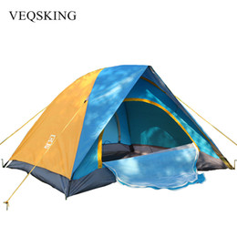 Wholesale Two Person Canvas Tent - Anti AU Windproof 1500 mm Rainproof Tents Double Layer Waterproof Camping Picnic Tents For Tourism 2 Person