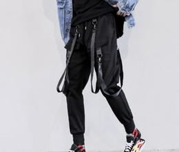 Pantalones de hombre de estilo de japón online-Hombres otoño cintas hip hop punk pantalones cargo streetwear estilo de los hombres de japón negro casual joggers discoteca pantalones etapa traje envío gratis
