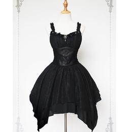 Vestido lolita gótico sin mangas online-Serenade ~ Black Gothic Vestido asimétrico asimétrico de Lolita con dobladillo de Soufflesong ~ 60 días para la confección