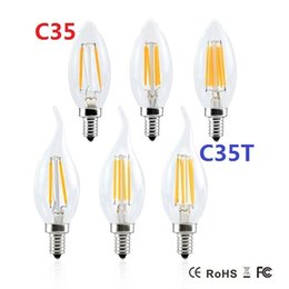 Wholesale Clear Globe Led - Dimmable LED Filament Candle Light Bulb 2W 4W E17 E14 E12 Led Bulbs Light High Bright Clear Glass C35 Led Lamp