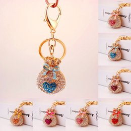 Wholesale Fortune Women - Top Quality Coin Hanging Bag Keychain Lucky Fortune Bag Crystal Keychain Creative Car Keychain Gift 6 Styles Wholesale Free DHL D974Q