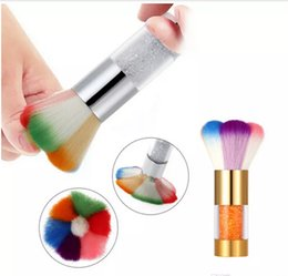 Wholesale Gel Nail Powders - Nail Dust Brushes Acrylic UV Nail Gel Powder Nail Art Dust Remover Brush Cleaner Rhinestones Makeup Foundation Tool free shipping