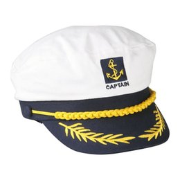 Wholesale Navy Style Hat - 2016 Hot Style Sailor Ship Boat Captain Hat Navy Marins Admiral Adjustable Cap White