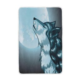2020 lana de lobo Howling Wolf Full Moon Night Blanket Soft Warm Cosy Bed Couch Ligero poliéster Manta de microfibra rebajas lana de lobo