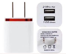 Wholesale Air Plugs - 2.1A Wall Charger Plug US EU Dual USB AC Power Adapter 2 ports for mini air Ipod HTC 100PCS
