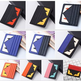 Wholesale Real Gold Credit Card - Cartoon Ultra-thin ID Card Holder Fashion Men Women Credit Card Holder Little monsters Slim Bank ID Card Case Pocket Bag Real Leather Wallet