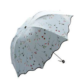 Wholesale Uv Sun Protection Umbrella - Small Pure Fresh Flower Vine Creative Folding Umbrella Sun Umbrella Black Glue Thirty Percent UV Protection