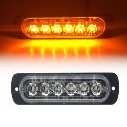 luz de advertencia de peligro estroboscópico Rebajas 6 LED Car Truck Side luz estroboscópica Luz ámbar intermitente LED Advertencia de peligro de emergencia Barra de luces DC12V 24V