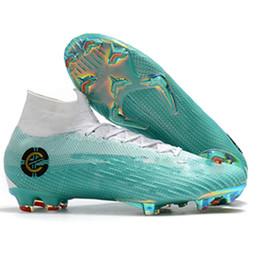 Crampons de football bleu blanc pour enfants Mercurial Superfly VI 360 Elite CR7 35 - 45 FG Original Chaussures de football pour enfants Ronaldo Bottes de football + Sacs ? partir de fabricateur