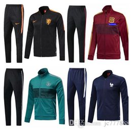 Wholesale Men S Uniform Jackets - 2018 Franc football Jacket set GRIEZMANN Football Training Suit Top quality 2019 Franc POGBA Tracksuit survetement Maillot Shirts uniform