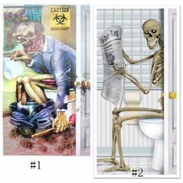 Housses de portes en Ligne-Crâne Zombie Autocollant Halloween Décorations verre fenêtre Partie Salle De Bains Porte Autocollant Squelette Couverture Prop Scary stickers muraux Décor GGA1179