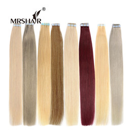 "Wholesale Blonde Brown Extensions - MRSHAIR Tape In Human Hair Extensions 20pcs 16"" 18"" 20"" 22"" 24"" Double Sided Tape Hair Extensions Blonde"