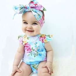 71e37ceaa794 INS Baby girl rompers suits Children ins cartoon Flower Flying sleeve  triangle rompers+ bow Hair band 2pcs set baby Girls clothes Blue A8968