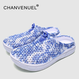 Wholesale Cheap Heels Shoes For Women - Cheap Sale Summer Women Floral Print Clogs Shoes Beach Breathable Slippers Waterproof Clogs For Women Blue-And-White Mule Clogs