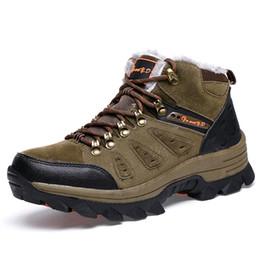 Botas de invierno ata hasta la piel online-38-47 hombres de gran tamaño botas de trabajo de tobillo para hombres botas de nieve de invierno cálido FurPlush cordones de zapatos de moda superior alta zapatillas de deporte
