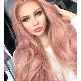 Argentina Nuevo estilo Cosplay oro rosa belleza largo ondulado pelucas delanteras del cordón sintético melocotón color rosa de alta temperatura de fibra de encaje frente pelucas para mujeres cheap golds synthetic wig Suministro