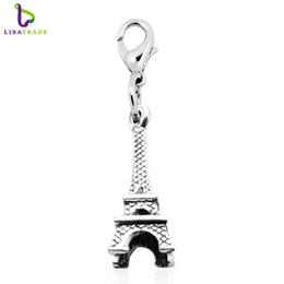 "Wholesale metal charms pendants eiffel tower - Fashion Charms pendants 10pcs ""Eiffel Tower""dangles necklace pendants fit floating charm locket Lobster clasp LSFE13*10"