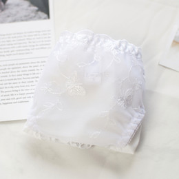 Wholesale Cute Lace Comfortable Underwear - White lace sexy underwear silk embroidery waist milk cute students soft comfortable briefs panties tanga calcinha g string