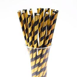Фольга полосатый бумаги соломы золото и черный одноразовые соломы день рождения свадьба декоративные партии событие питьевой соломинки от