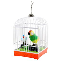 Wholesale toy plastic birds for kids - 2017 Electronic Chirping Cage Bird Sound Control Sing & Light Parrot Battery Power Children Toys Bithday Gifts for Kids New