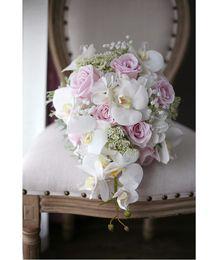 Fleurs de mariage en cascade en Ligne-Romantique Ivoire Rose Cascading Bouquets De Mariée De Mariage Roses Orchidée Artificielle Fleur De Soie À La Main Bouquet De Mariage 2018 ramo de flores