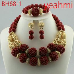 venta al por mayor de joyería de tanzanita Rebajas 2016 Moda collar de perlas de coral africano conjunto boda nigeriana perlas africanas joyería conjunto envío gratis BH68-2