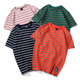 Wholesale Pink Panels - T Shirt Men Simple Striped Men's Tee Shirts O-neck T Shirt Cotton Casual Streetwear T Shirts Couple Summer Fashion Tees