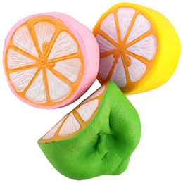 Wholesale Lemon Charms - 50pcs Lot Spicy Imitation Gift Squeeze Squishy Toys Buns Children De-Stress Kawaii Lemon Slow Rising Phone Strap Freeshipping