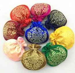 Wholesale Silk Cloth Drawstring Bags - 4pcs Lucky Small Drawstring Craft Cloth Favor Bags for Candy Tea Gift Packaging Chinese style Silk Brocade Jewelry Storage Sachet