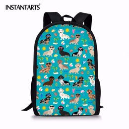 Рюкзаки для девочек онлайн-INSTANTARTS Dachshund Dog Pattern Girls Kids Backpacks Durable Schoolbags Children Primary School Backpack  Infantil