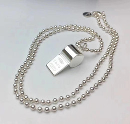 Wholesale Halloween Whistle - 2018 New design 316L Titanium steel whistle shape pendant necklace words for man and women pendant necklace S925 silver plated jewelry gift