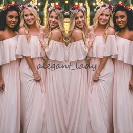 Wholesale Bohemian Long Prom Dress - 2018 Latest Blush Pink Bohemian-Style Bridesmaid Dresses Sexy Ruched Off Shoulder Chiffon Long Prom Dresses Pretty Party Dress For Wedding