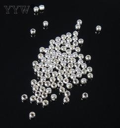 Bolas de plata de ley online-Vendido por la bolsa de moda bola redonda espaciador genuino 925 granos de plata esterlina 2/4/5/6/7/8/9 / 10mm elegir DIY encantos joyería