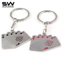 Wholesale Play Boy Men - STARWORLD Fashion Playing cards flush keychain creative men's car key ring boy key chain 2017 style key holder gifts for men