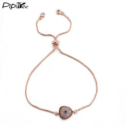 white rose charm for bracelet Australia - Pipitree Fashion Triangle Evil Eye Bracelet CZ Zircon Turkish Jewelry Rose Gold Color Chain Link Charm Bracelets for Men Women