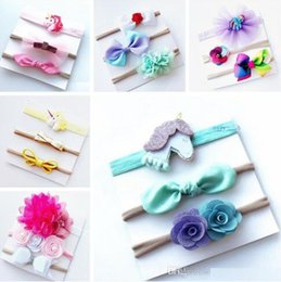 Wholesale New Baby Girl Gifts - 2017 new INS baby unicorn rainbow bowknot headband hair bow 5PCS SET kids girls cute rainbow unicorn flower bow Christmas hair bands gift