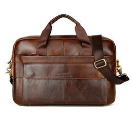Bolsos de cuero vintage para laptop online-2018 Vintage hombres de piel de vaca bolsa de cuero genuino maletín para hombre Messenger Laptop bolsas de mano Luxury Lawyer bolsa de mano