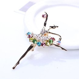 Wholesale Girl Ballet Dancer - Wholesale- Hot Fashion 1pc Brooches for Women Ballerina Ballet Dancer Girl Full Colourful Crystal Cute Angel Brooches Pins