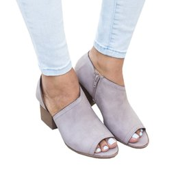 Wholesale med designs - ANGUSH new design women fashion high heel sandals low help chunky heel shoes female plus size breathable fish mouth ankle heel summer sandal