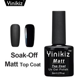Wholesale Matte Uv Gel - Yinikiz 2017 Top Base Coat Black Color Matte Shiny UV LED Soak Off Gel Polish Set Frosted Surface Matt Top Coat Gel